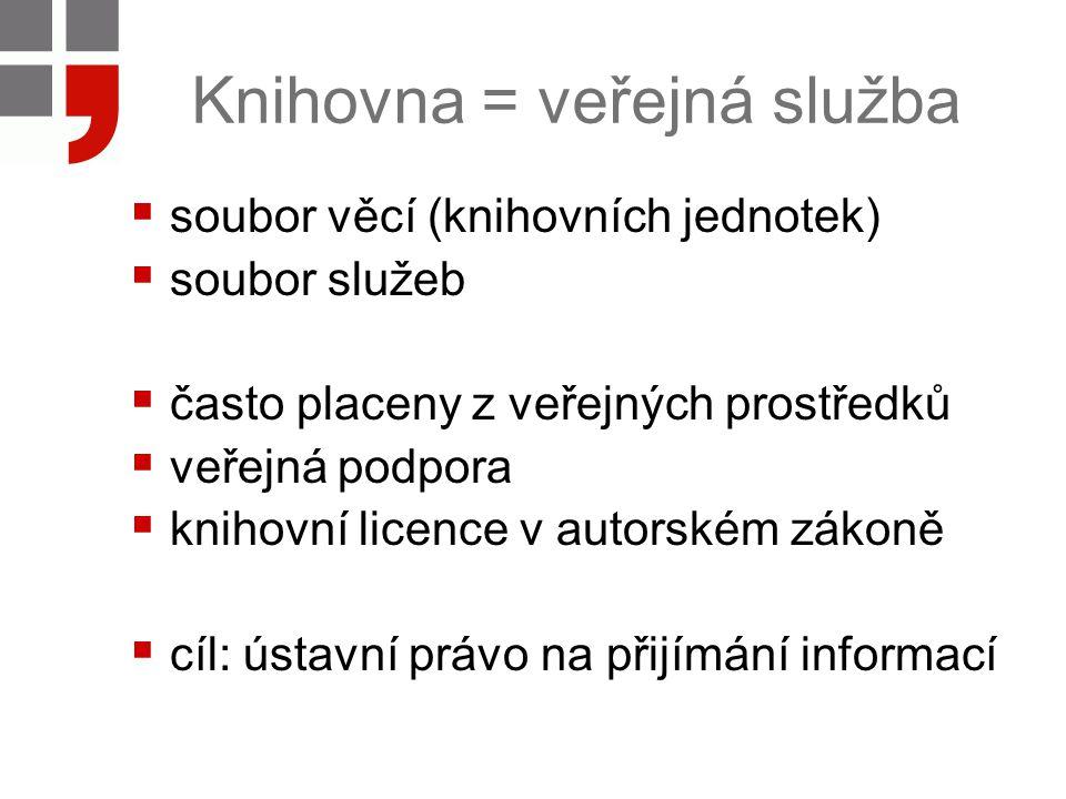 Knihovna = veřejná služba  soubor věcí (knihovních jednotek)  soubor služeb  často placeny z veřejných prostředků  veřejná podpora  knihovní lice