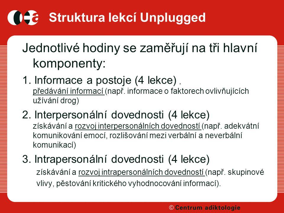 Struktura lekcí Unplugged Jednotlivé hodiny se zaměřují na tři hlavní komponenty: 1. Informace a postoje (4 lekce) ' předávání informací (např. inform
