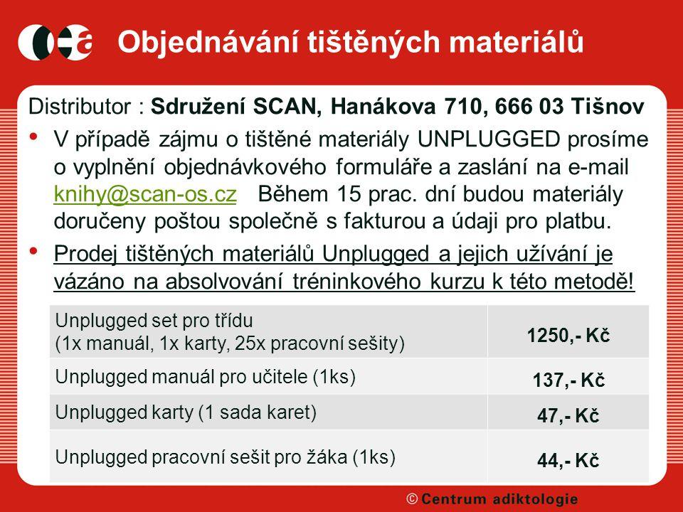 Objednávání tištěných materiálů Distributor : Sdružení SCAN, Hanákova 710, 666 03 Tišnov V případě zájmu o tištěné materiály UNPLUGGED prosíme o vyplnění objednávkového formuláře a zaslání na e-mail knihy@scan-os.cz Během 15 prac.