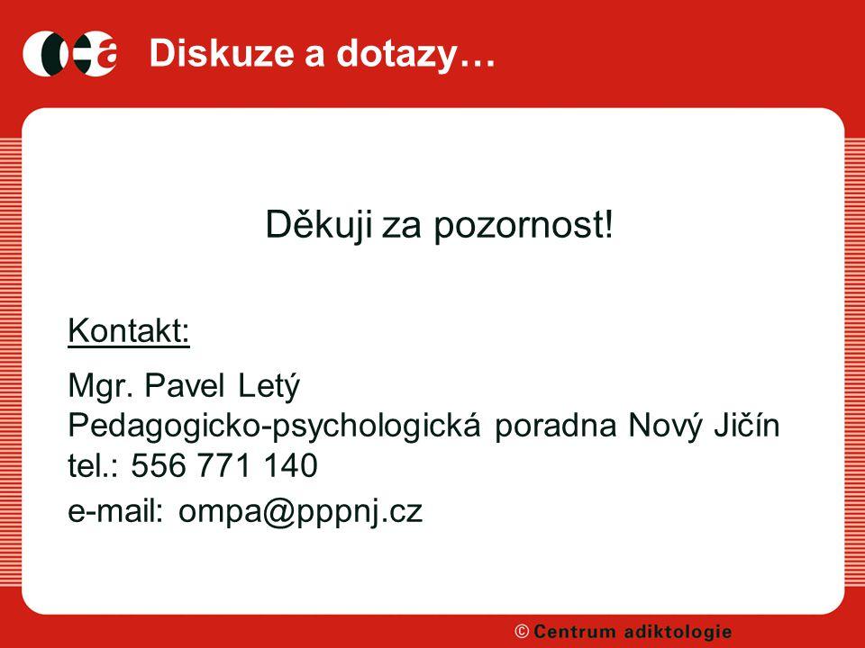 Diskuze a dotazy… Děkuji za pozornost! Kontakt: Mgr. Pavel Letý Pedagogicko-psychologická poradna Nový Jičín tel.: 556 771 140 e-mail: ompa@pppnj.cz