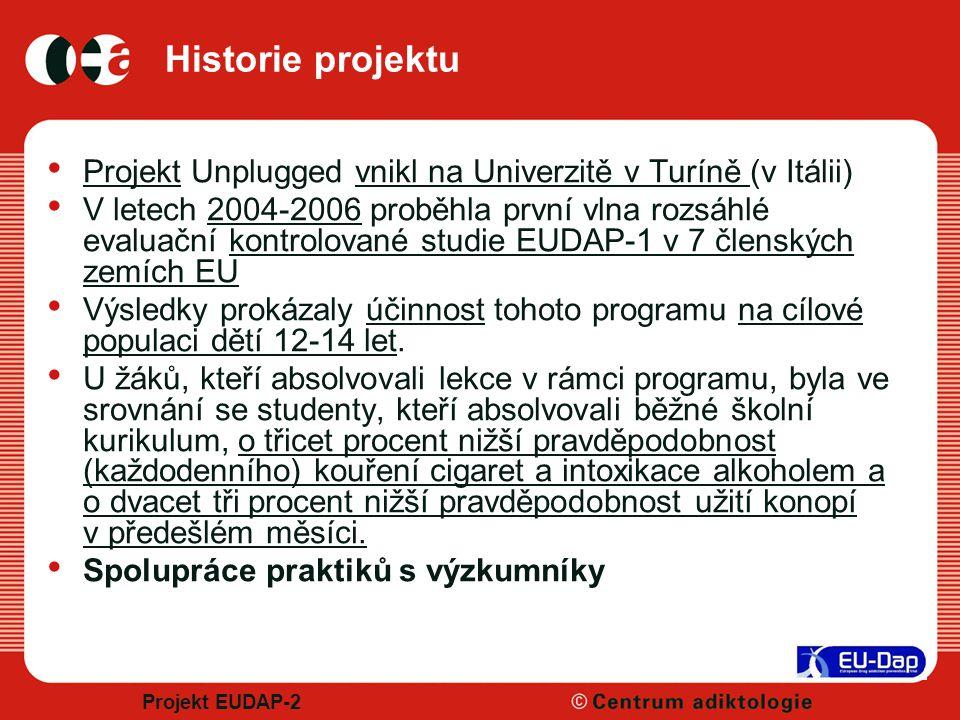 Projekt EUDAP-2 Historie projektu Projekt Unplugged vnikl na Univerzitě v Turíně (v Itálii) V letech 2004-2006 proběhla první vlna rozsáhlé evaluační kontrolované studie EUDAP-1 v 7 členských zemích EU Výsledky prokázaly účinnost tohoto programu na cílové populaci dětí 12-14 let.
