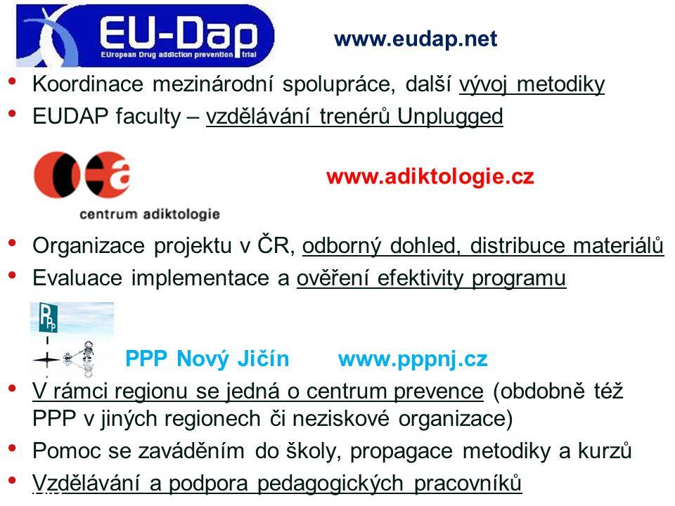 Koordinace mezinárodní spolupráce, další vývoj metodiky EUDAP faculty – vzdělávání trenérů Unplugged Organizace projektu v ČR, odborný dohled, distrib