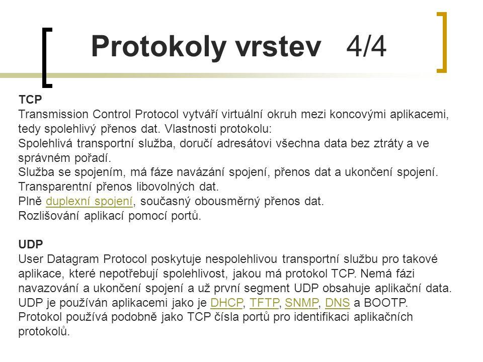 Protokoly vrstev 4/4 TCP Transmission Control Protocol vytváří virtuální okruh mezi koncovými aplikacemi, tedy spolehlivý přenos dat. Vlastnosti proto