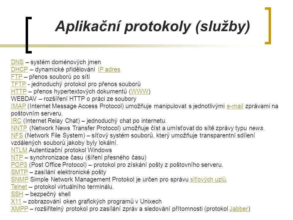 Aplikační protokoly (služby) DNSDNS – systém doménových jmen DHCPDHCP – dynamické přidělování IP adresIP adres FTPFTP – přenos souborů po síti TFTPTFT