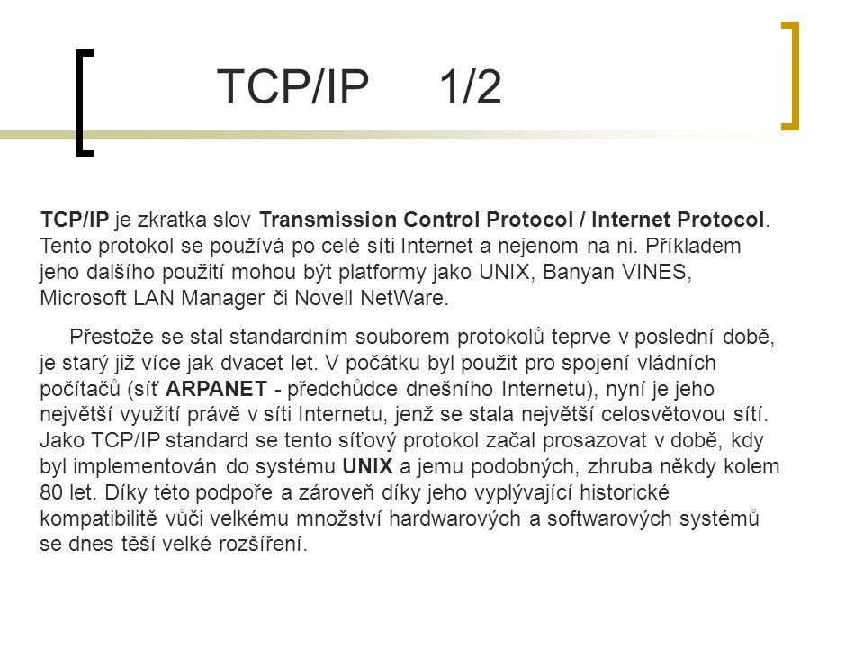 TCP/IP je zkratka slov Transmission Control Protocol / Internet Protocol. Tento protokol se používá po celé síti Internet a nejenom na ni. Příkladem j
