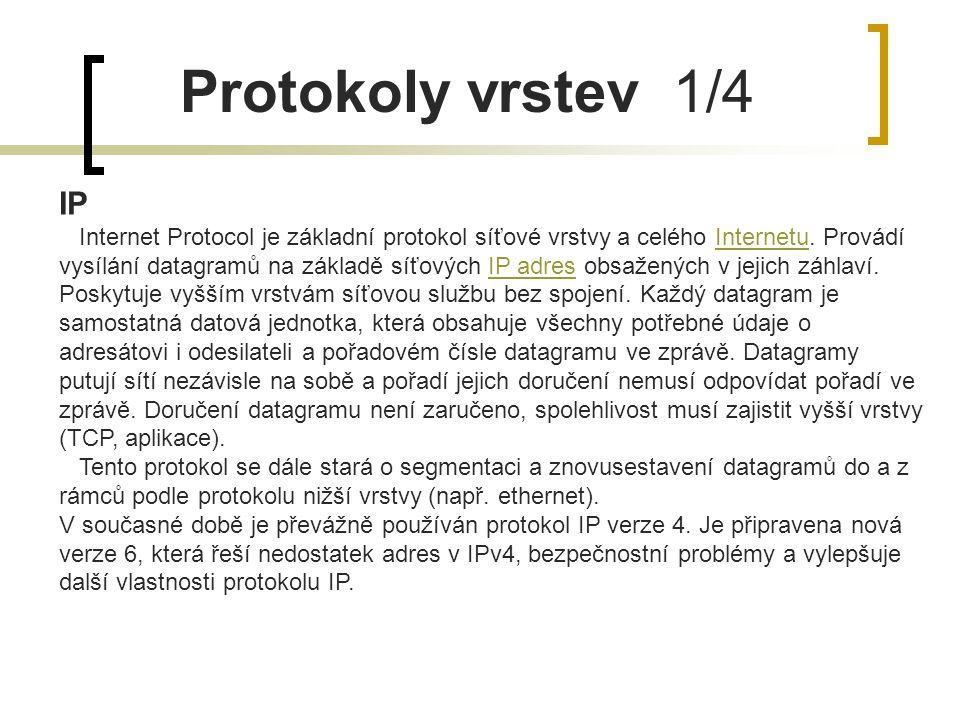 Protokoly vrstev 1/4 IP Internet Protocol je základní protokol síťové vrstvy a celého Internetu. Provádí vysílání datagramů na základě síťových IP adr