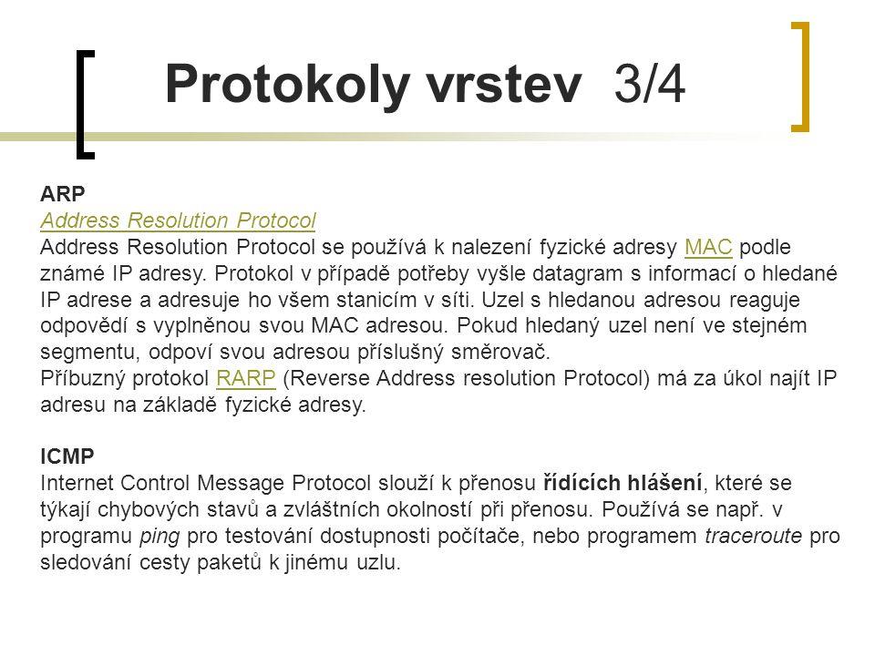 Protokoly vrstev 3/4 ARP Address Resolution Protocol Address Resolution Protocol se používá k nalezení fyzické adresy MAC podle známé IP adresy. Proto