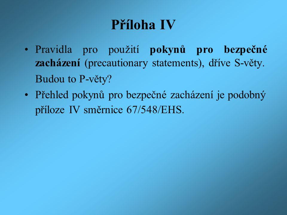 Příloha IV Pravidla pro použití pokynů pro bezpečné zacházení (precautionary statements), dříve S-věty. Budou to P-věty? Přehled pokynů pro bezpečné z