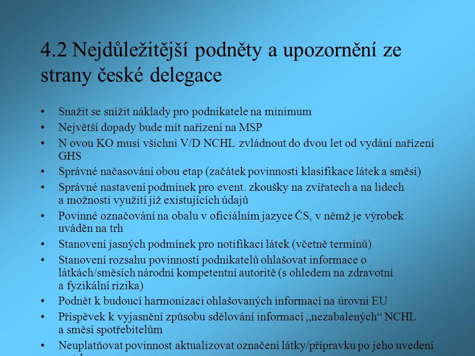 4.2 Nejdůležitější podněty a upozornění ze strany české delegace Snažit se snížit náklady pro podnikatele na minimum Největší dopady bude mít nařízení na MSP N ovou KO musí všichni V/D NCHL zvládnout do dvou let od vydání nařízení GHS Správné načasování obou etap (začátek povinnosti klasifikace látek a směsí) Správné nastavení podmínek pro event.