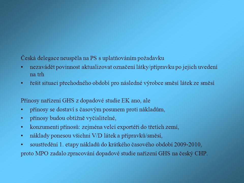 Česká delegace neuspěla na PS s uplatňováním požadavku nezavádět povinnost aktualizovat označení látky/přípravku po jejich uvedení na trh řešit situac