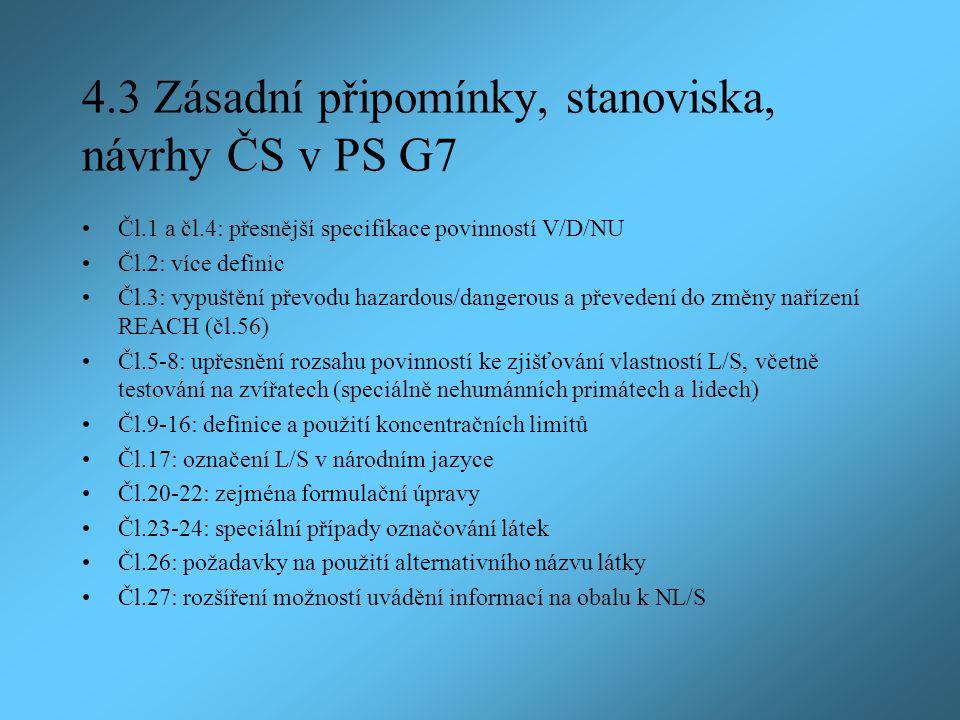 4.3 Zásadní připomínky, stanoviska, návrhy ČS v PS G7 Čl.1 a čl.4: přesnější specifikace povinností V/D/NU Čl.2: více definic Čl.3: vypuštění převodu hazardous/dangerous a převedení do změny nařízení REACH (čl.56) Čl.5-8: upřesnění rozsahu povinností ke zjišťování vlastností L/S, včetně testování na zvířatech (speciálně nehumánních primátech a lidech) Čl.9-16: definice a použití koncentračních limitů Čl.17: označení L/S v národním jazyce Čl.20-22: zejména formulační úpravy Čl.23-24: speciální případy označování látek Čl.26: požadavky na použití alternativního názvu látky Čl.27: rozšíření možností uvádění informací na obalu k NL/S