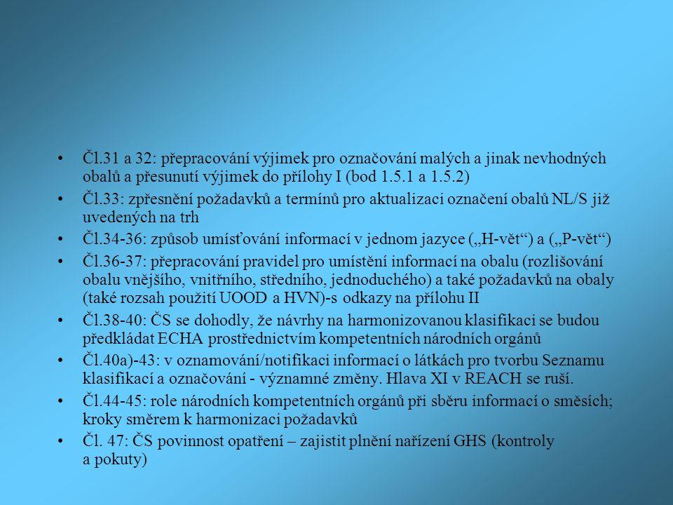 """Čl.31 a 32: přepracování výjimek pro označování malých a jinak nevhodných obalů a přesunutí výjimek do přílohy I (bod 1.5.1 a 1.5.2) Čl.33: zpřesnění požadavků a termínů pro aktualizaci označení obalů NL/S již uvedených na trh Čl.34-36: způsob umísťování informací v jednom jazyce (""""H-vět ) a (""""P-vět ) Čl.36-37: přepracování pravidel pro umístění informací na obalu (rozlišování obalu vnějšího, vnitřního, středního, jednoduchého) a také požadavků na obaly (také rozsah použití UOOD a HVN)-s odkazy na přílohu II Čl.38-40: ČS se dohodly, že návrhy na harmonizovanou klasifikaci se budou předkládat ECHA prostřednictvím kompetentních národních orgánů Čl.40a)-43: v oznamování/notifikaci informací o látkách pro tvorbu Seznamu klasifikací a označování - významné změny."""