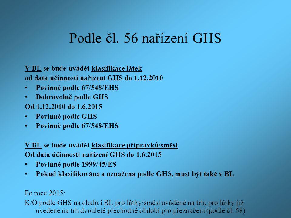 Podle čl. 56 nařízení GHS V BL se bude uvádět klasifikace látek od data účinnosti nařízení GHS do 1.12.2010 Povinně podle 67/548/EHS Dobrovolně podle