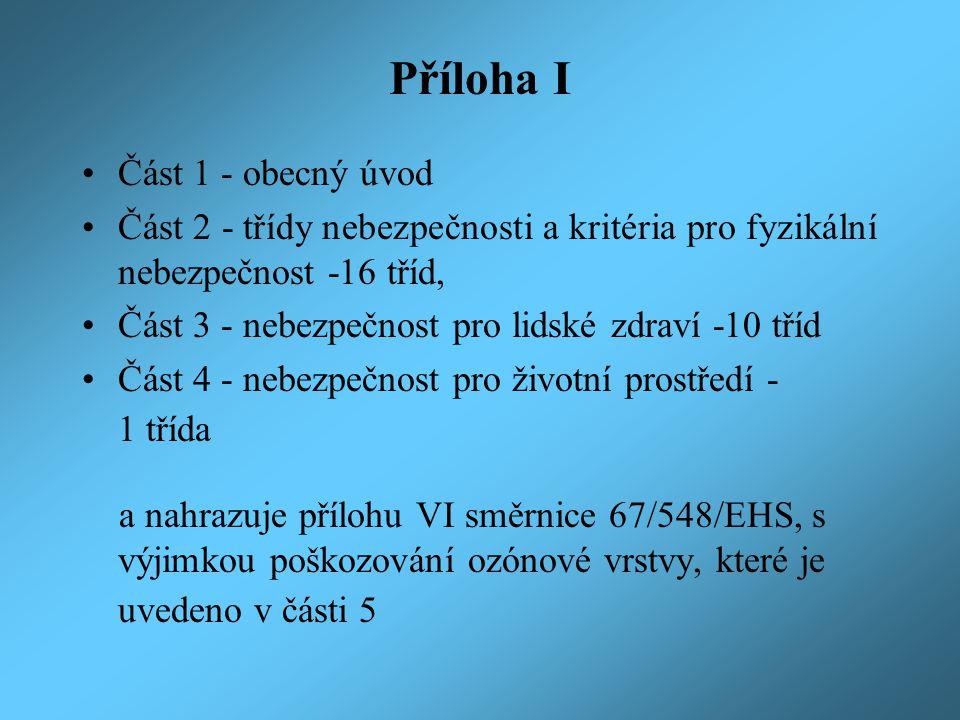 Příloha I Část 1 - obecný úvod Část 2 - třídy nebezpečnosti a kritéria pro fyzikální nebezpečnost -16 tříd, Část 3 - nebezpečnost pro lidské zdraví -10 tříd Část 4 - nebezpečnost pro životní prostředí - 1 třída a nahrazuje přílohu VI směrnice 67/548/EHS, s výjimkou poškozování ozónové vrstvy, které je uvedeno v části 5