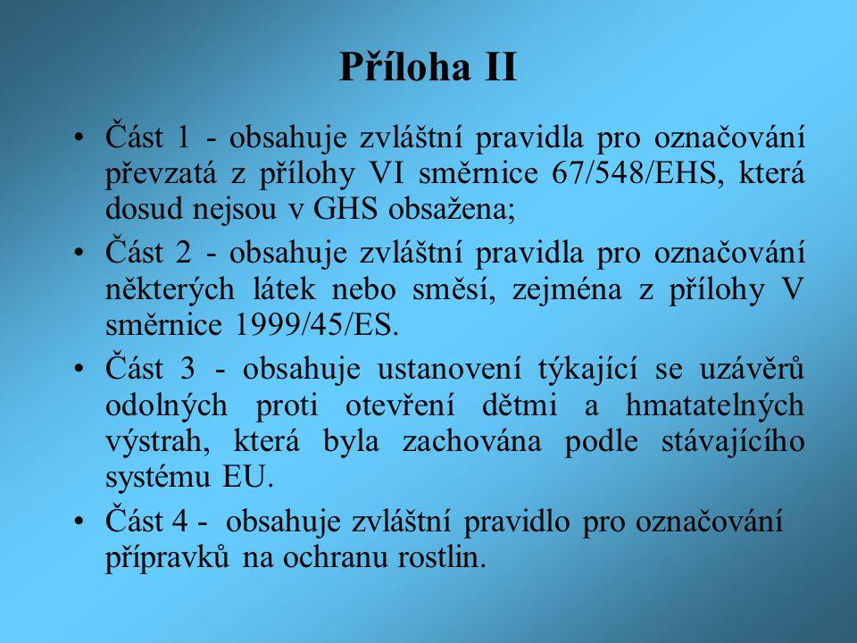 Příloha II Část 1 - obsahuje zvláštní pravidla pro označování převzatá z přílohy VI směrnice 67/548/EHS, která dosud nejsou v GHS obsažena; Část 2 - obsahuje zvláštní pravidla pro označování některých látek nebo směsí, zejména z přílohy V směrnice 1999/45/ES.