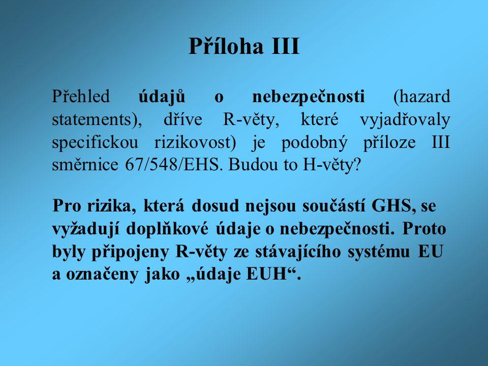 Příloha IV Pravidla pro použití pokynů pro bezpečné zacházení (precautionary statements), dříve S-věty.