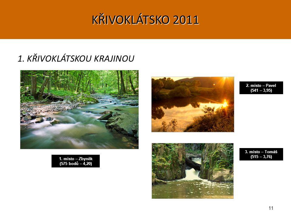 11 1. KŘIVOKLÁTSKOU KRAJINOU 1. místo – Zbyněk (575 bodů – 4,20) 2.