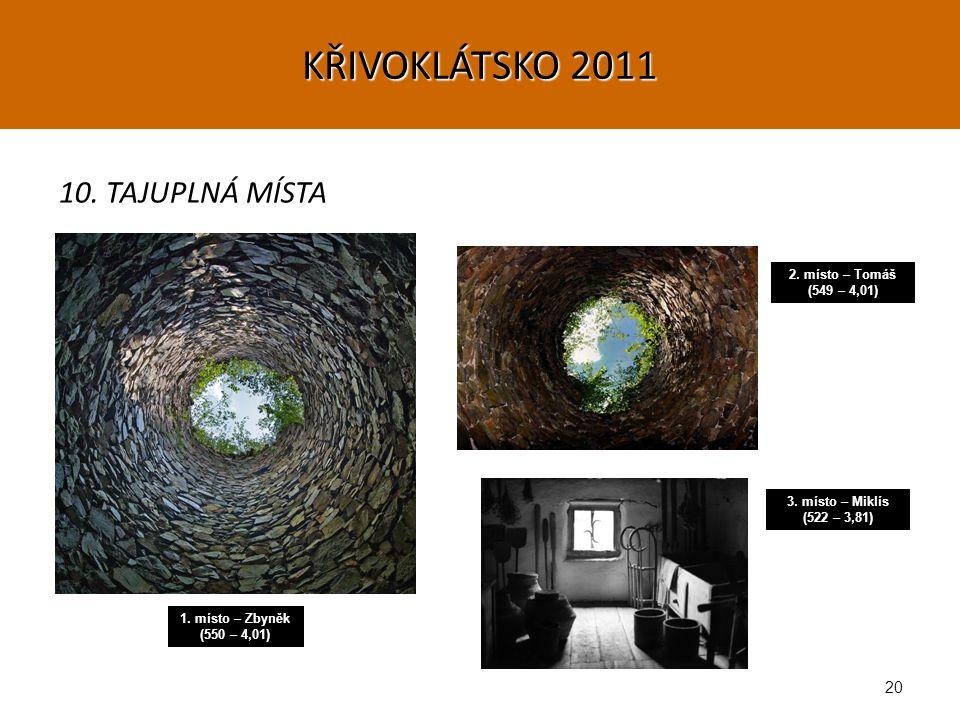 20 10. TAJUPLNÁ MÍSTA 1. místo – Zbyněk (550 – 4,01) 2.