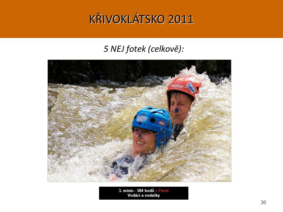 30 5 NEJ fotek (celkově): 3. místo - 584 bodů – Pavel Vodáci a vodačky KŘIVOKLÁTSKO 2011