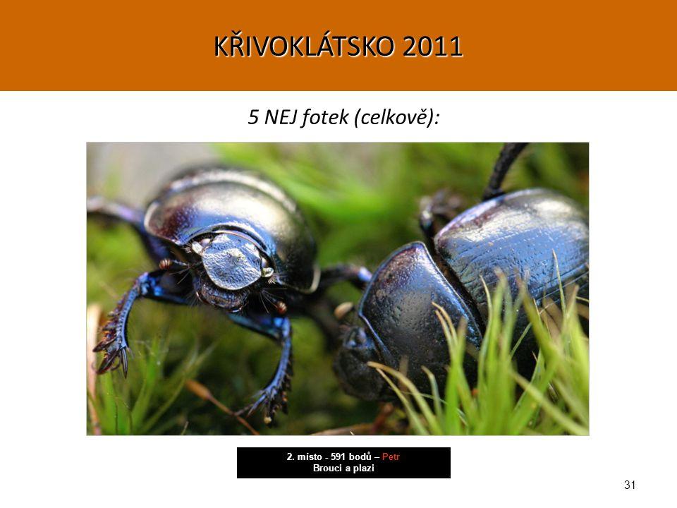31 5 NEJ fotek (celkově): 2. místo - 591 bodů – Petr Brouci a plazi KŘIVOKLÁTSKO 2011