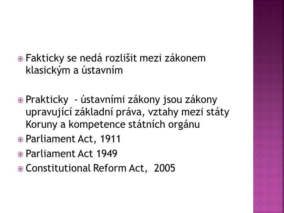  Fakticky se nedá rozlišit mezi zákonem klasickým a ústavním  Prakticky - ústavními zákony jsou zákony upravující základní práva, vztahy mezi státy Koruny a kompetence státních orgánu  Parliament Act, 1911  Parliament Act 1949  Constitutional Reform Act, 2005