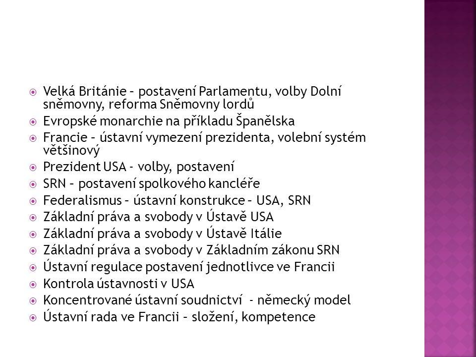  Velká Británie – postavení Parlamentu, volby Dolní sněmovny, reforma Sněmovny lordů  Evropské monarchie na příkladu Španělska  Francie – ústavní vymezení prezidenta, volební systém většinový  Prezident USA - volby, postavení  SRN – postavení spolkového kancléře  Federalismus – ústavní konstrukce – USA, SRN  Základní práva a svobody v Ústavě USA  Základní práva a svobody v Ústavě Itálie  Základní práva a svobody v Základním zákonu SRN  Ústavní regulace postavení jednotlivce ve Francii  Kontrola ústavnosti v USA  Koncentrované ústavní soudnictví - německý model  Ústavní rada ve Francii – složení, kompetence