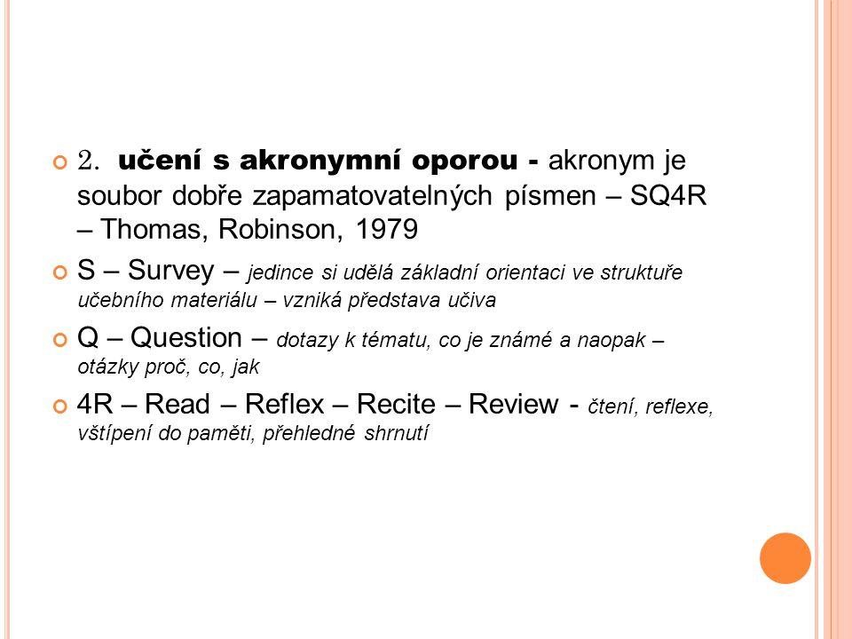 2. učení s akronymní oporou - akronym je soubor dobře zapamatovatelných písmen – SQ4R – Thomas, Robinson, 1979 S – Survey – jedince si udělá základní