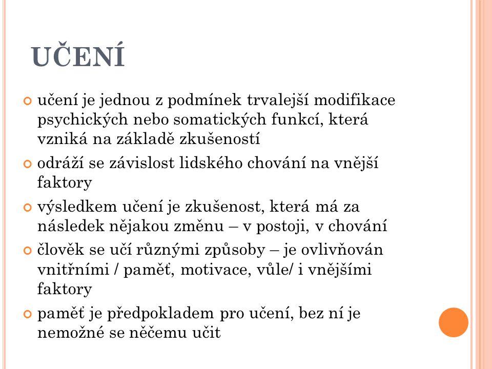 M ECHANISMY UČENÍ 1.