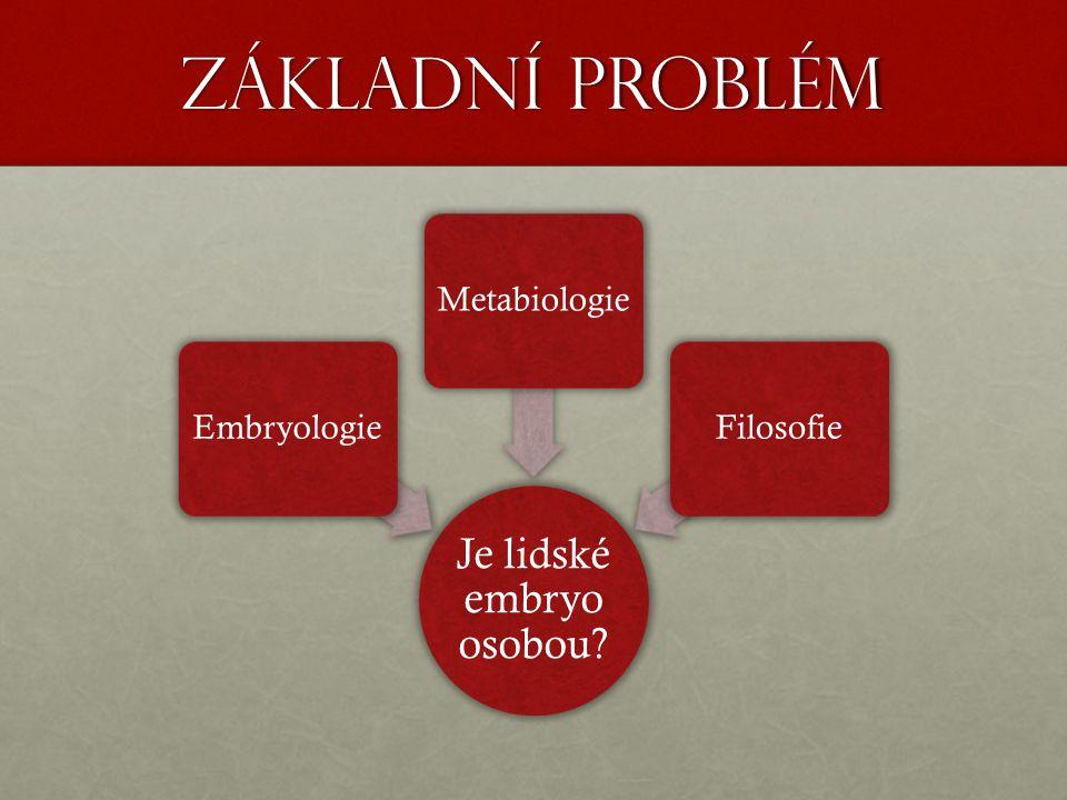 Základní problém Je lidské embryo osobou EmbryologieMetabiologieFilosofie