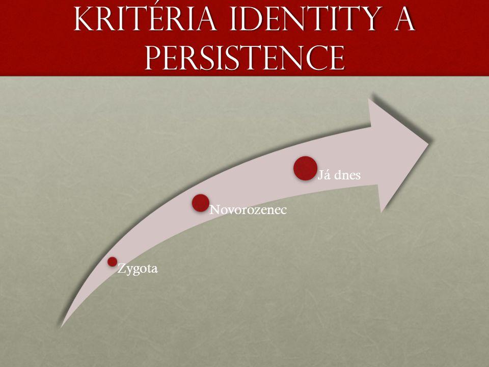 Kritéria identity a persistence Zygota Novorozenec Já dnes