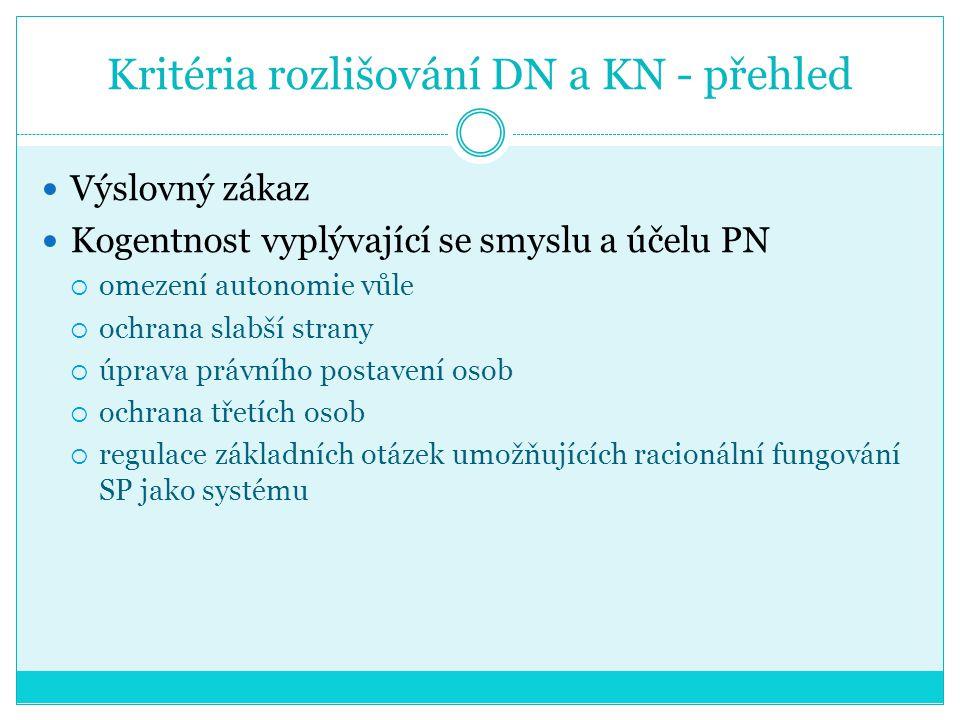 Kritéria rozlišování DN a KN - přehled Výslovný zákaz Kogentnost vyplývající se smyslu a účelu PN  omezení autonomie vůle  ochrana slabší strany  ú