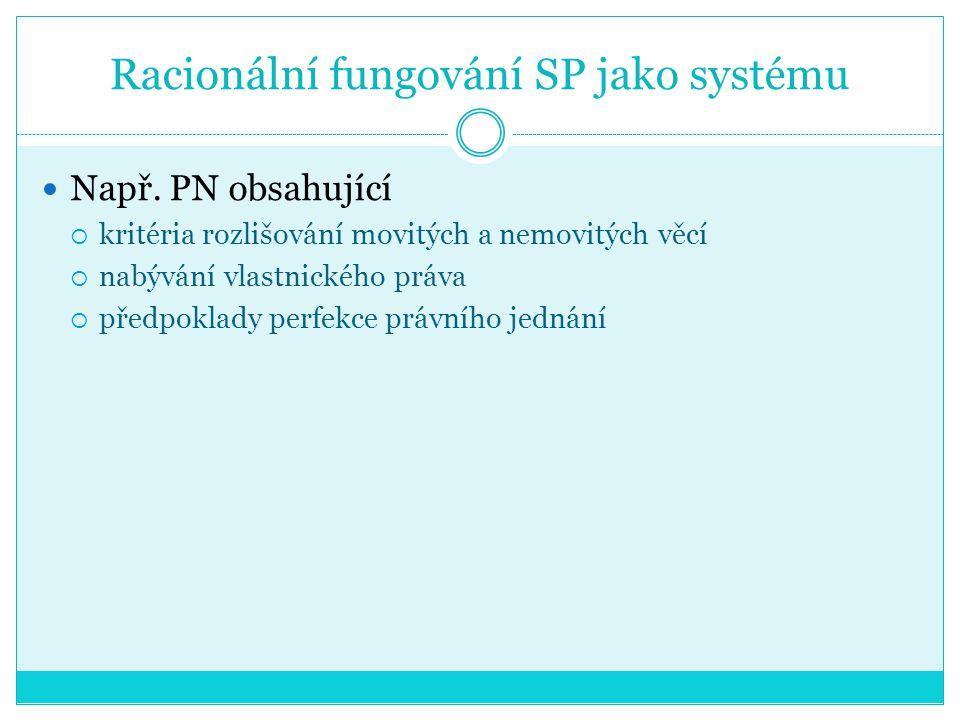 Racionální fungování SP jako systému Např. PN obsahující  kritéria rozlišování movitých a nemovitých věcí  nabývání vlastnického práva  předpoklady