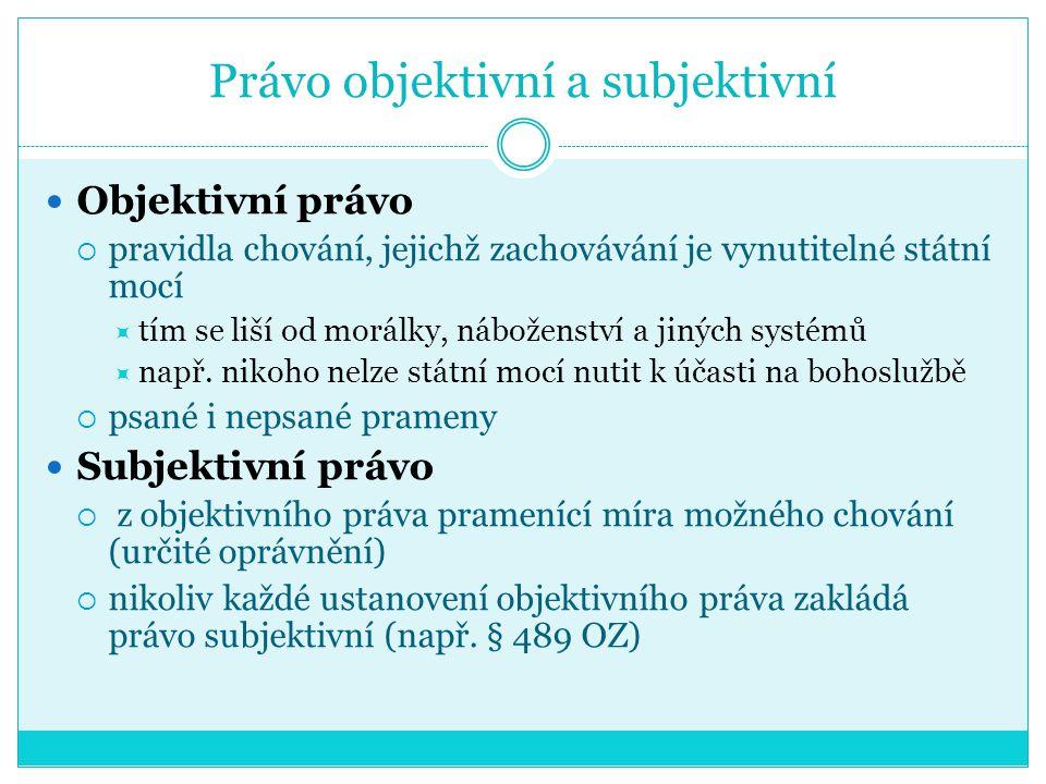 Nepsané prameny ČR není zemí výlučně psaného práva Pramenem práva jsou také  zvyklosti  dlouhodobě fakticky zachovávaná pravidla, aniž by existovalo opinio necessitatis  podle § 9/1 jenom tam, kde se jich zákon dovolává (§ 10/2, § 545, § 558/2 apod.)  u obyčejů je naproti tomu dáno opinio necessitatis a jsou závazné ze své právní síly, ne kvůli odkazu zákona na ně  zásady k nepsaným pramenům viz nález Pl.