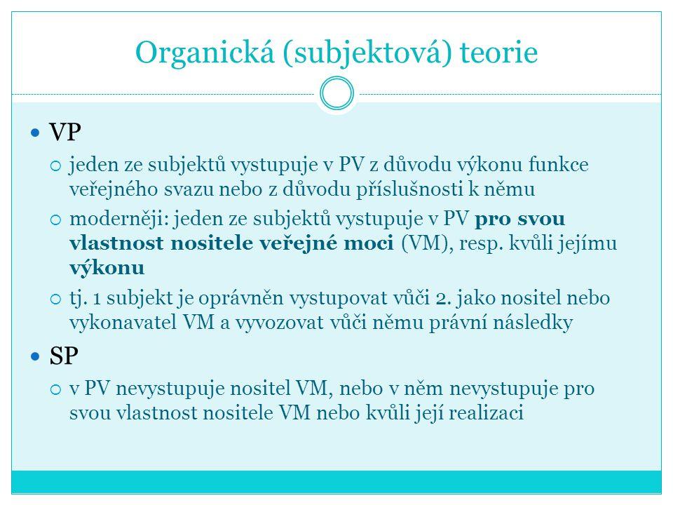 Organická (subjektová) teorie VP  jeden ze subjektů vystupuje v PV z důvodu výkonu funkce veřejného svazu nebo z důvodu příslušnosti k němu  moderně