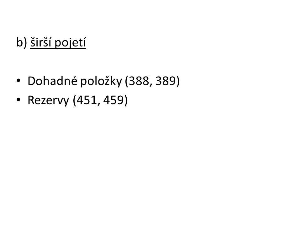 b) širší pojetí Dohadné položky (388, 389) Rezervy (451, 459)