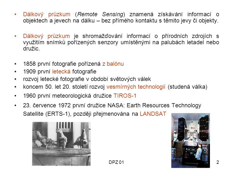 DPZ 013 A Zdroj energie B Radiace a atmosféra C Interakce s povrchem D Senzor E Záznam a přenos F Analýza a interpretace G Konečný uživatel - aplikace SYSTÉM DÁLKOVÉHO PRŮZKUMU Prvky DPZ