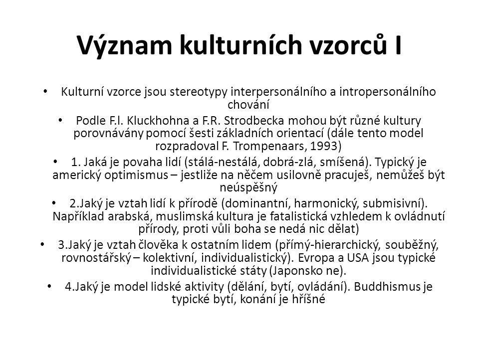 Význam kulturních vzorců I Kulturní vzorce jsou stereotypy interpersonálního a intropersonálního chování Podle F.l.