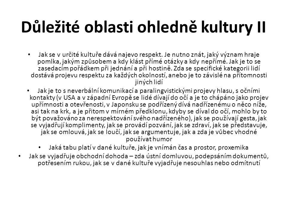 Důležité oblasti ohledně kultury II Jak se v určité kultuře dává najevo respekt.