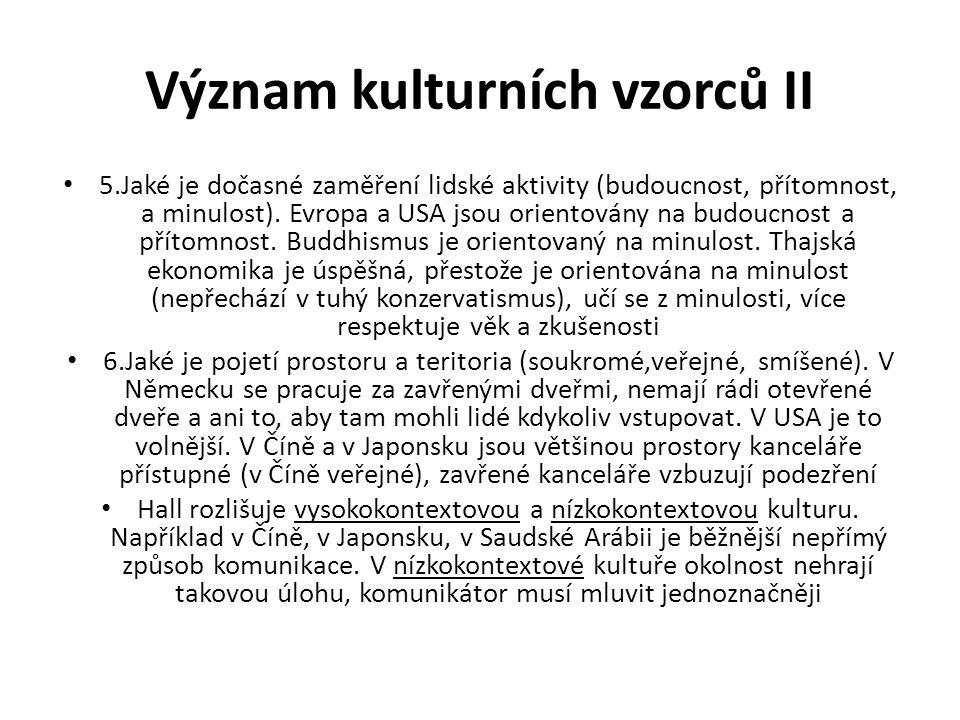 Význam kulturních vzorců II 5.Jaké je dočasné zaměření lidské aktivity (budoucnost, přítomnost, a minulost).