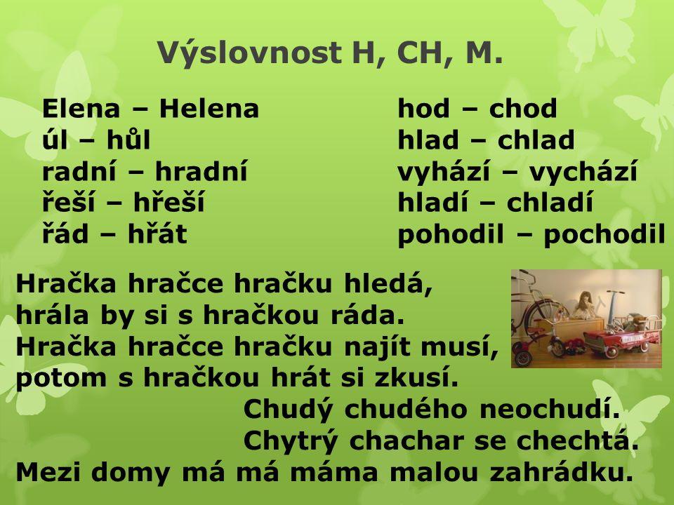 Výslovnost H, CH, M.