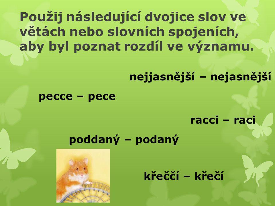 Použij následující dvojice slov ve větách nebo slovních spojeních, aby byl poznat rozdíl ve významu.