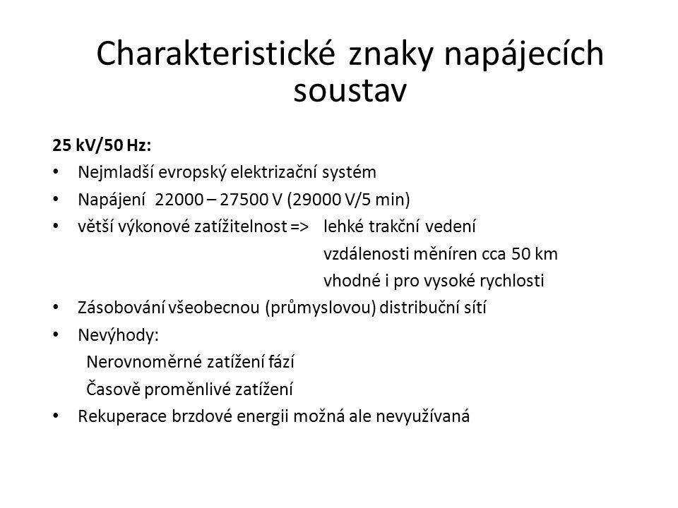 Charakteristické znaky napájecích soustav 25 kV/50 Hz: Nejmladší evropský elektrizační systém Napájení 22000 – 27500 V (29000 V/5 min) větší výkonové