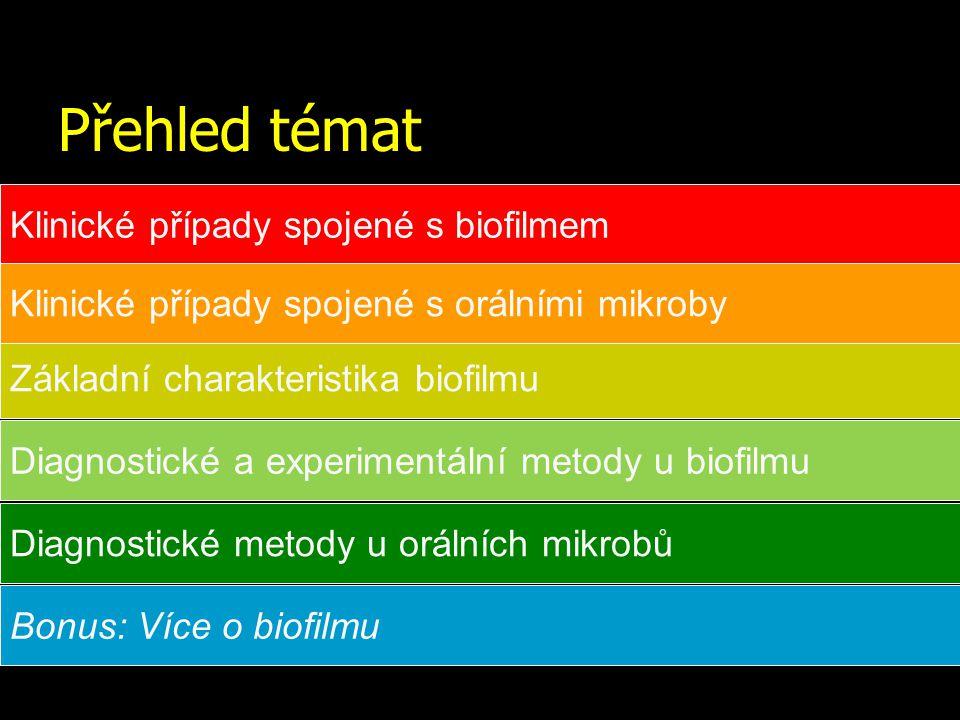 Přehled témat Klinické případy spojené s biofilmem Základní charakteristika biofilmu Diagnostické a experimentální metody u biofilmu Bonus: Více o bio