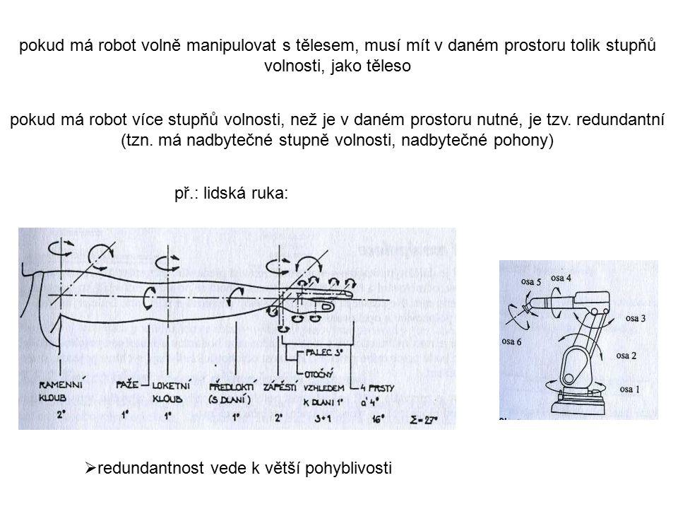 pokud má robot volně manipulovat s tělesem, musí mít v daném prostoru tolik stupňů volnosti, jako těleso pokud má robot více stupňů volnosti, než je v