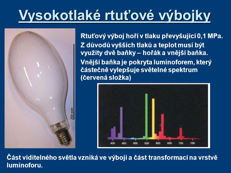 Vysokotlaké rtuťové výbojky H-hořák (výbojová trubice – křemenné sklo) *je naplněný rtutí a argonem *provozní tlak je (0,2 - 0,9) MPa *teplota výboje je 5 500 K *teplota hořáku (600 – 800) 0 C HE-hlavní elektrody (W drát pokrytý kysličníky) PE-zapalovací (pomocná) elektroda R-předřazený rezistor (10 – 25) k  B-vnější baňka se směsí argonu a dusíku *tlak v baňce je zhruba 50 kPa *chrání před okysličením nosného systému *nepropouští UV záření (luminofor) *vytváří tepelnou izolaci *je pokryta luminoforem Princip: *zapálení výboje mezi hlavní a pomocnou elektrodou *výboj je stabilizován rezistorem (omezuje velikost proudu *při hoření pomocného výboje dochází k ionizaci v hořáku výbojky *po určité době se zapálí výboj mezi hlavními elektrodami