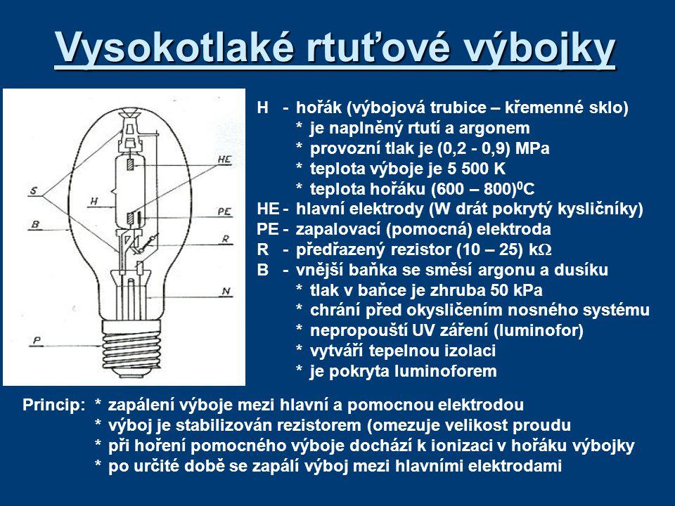 Vlastnosti a použití *výbojka musí mít tlumivku, ale nepotřebuje zapalovač (díky ionizaci stačí k zapálení výboje síťové napětí) *na rozdíl od zářivek není přímý kontakt mezi luminoforem a výbojem *při zvyšování tlaku roste měrný výkon (50 – 60) lm/W a vzniká spojité spektrum *náběh výbojky trvá (5 – 10) minut *při hoření výboje je vlivem teploty v hořáku velký tlak, který po vypnutí nedovolí opětovné zapálení.