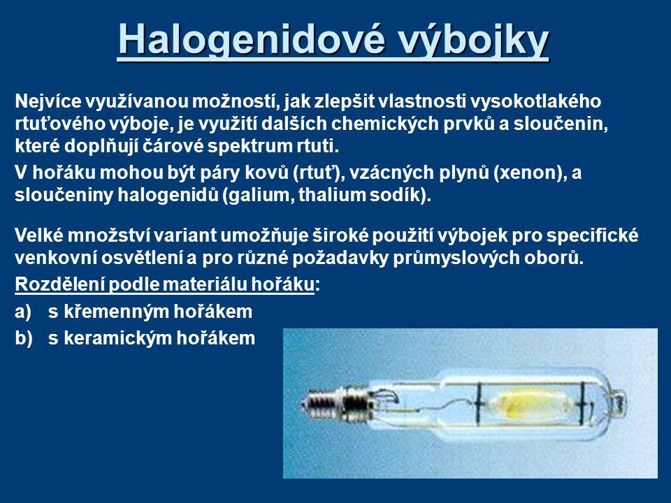 Halogenidové výbojky Nejvíce využívanou možností, jak zlepšit vlastnosti vysokotlakého rtuťového výboje, je využití dalších chemických prvků a sloučen
