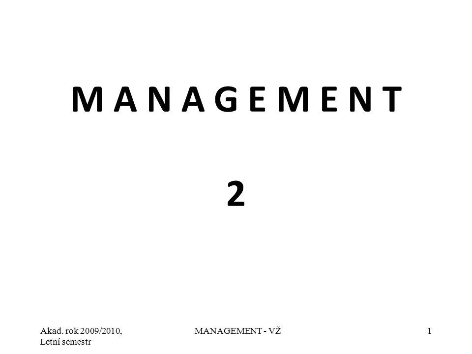 Akad. rok 2009/2010, Letní semestr MANAGEMENT - VŽ1 M A N A G E M E N T 2