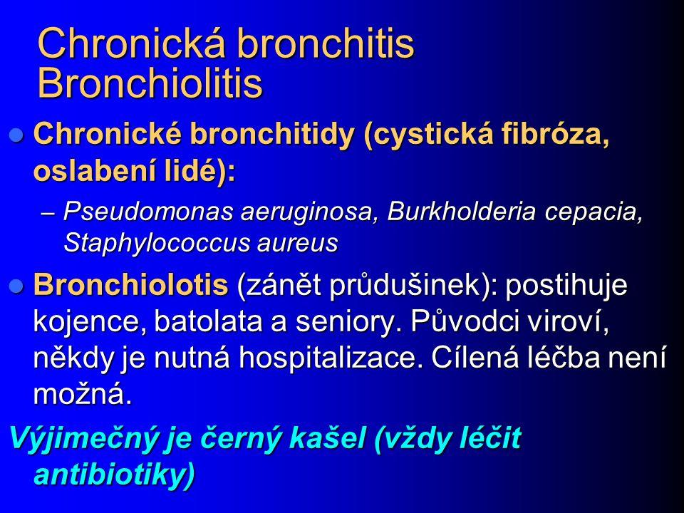 Chronická bronchitis Bronchiolitis Chronické bronchitidy (cystická fibróza, oslabení lidé): Chronické bronchitidy (cystická fibróza, oslabení lidé): –