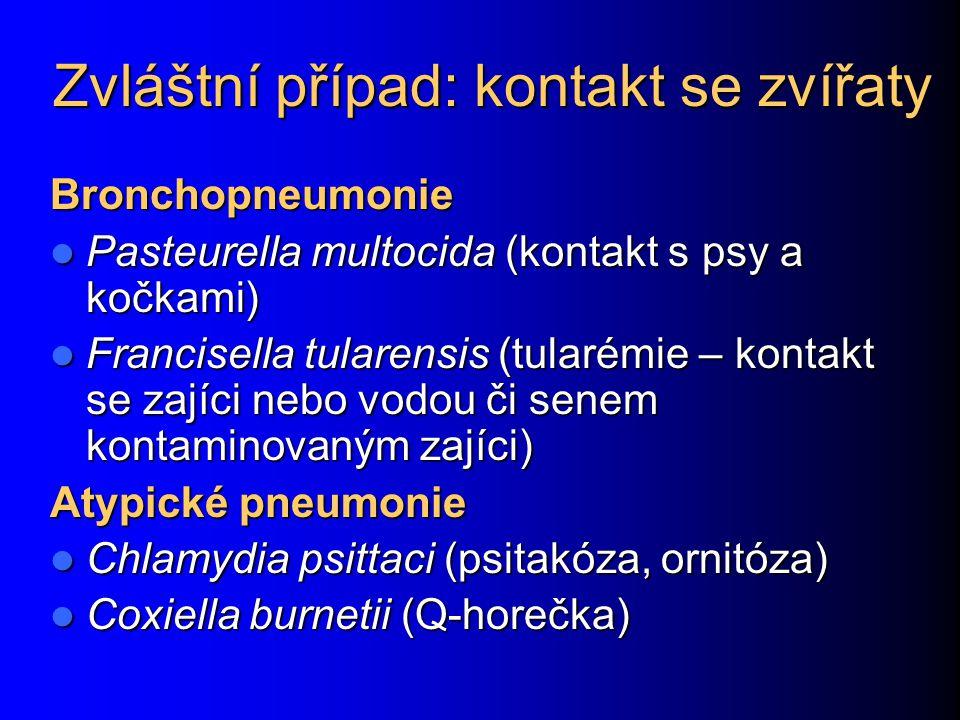 Zvláštní případ: kontakt se zvířaty Bronchopneumonie Pasteurella multocida (kontakt s psy a kočkami) Pasteurella multocida (kontakt s psy a kočkami) Francisella tularensis (tularémie – kontakt se zajíci nebo vodou či senem kontaminovaným zajíci) Francisella tularensis (tularémie – kontakt se zajíci nebo vodou či senem kontaminovaným zajíci) Atypické pneumonie Chlamydia psittaci (psitakóza, ornitóza) Chlamydia psittaci (psitakóza, ornitóza) Coxiella burnetii (Q-horečka) Coxiella burnetii (Q-horečka)